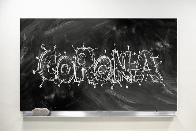 Corona mit Kreide auf der Tafel